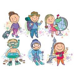 Travelling kids vector image