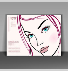 beautiful young woman booklet vector image