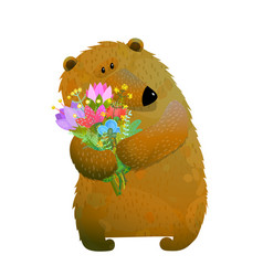 brown bear holding bunch of flowers vector image vector image