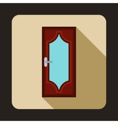 Brown wooden door with glass icon flat style vector image vector image