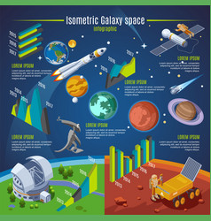 isometric galaxy space infographic concept vector image