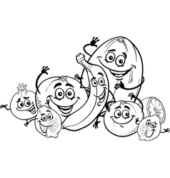 citrus fruits cartoon for coloring book vector image vector image