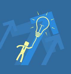 concept idea - a man flying on light bulb vector image