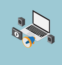 laptop with speaker and multimedia icon vector image vector image