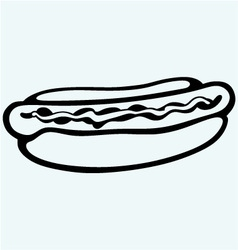 Old-fashioned hot dog with sausage vector image