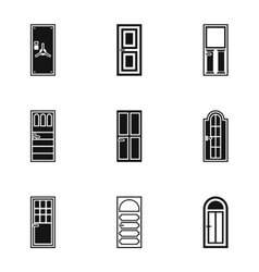 Security doors icons set simple style vector