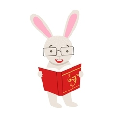White rabbit smiling bookworm zoo character vector