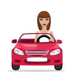 woman in a red convertible vector image