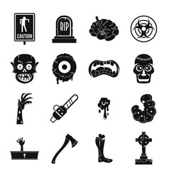 zombie icons set parts simple style vector image vector image