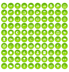 100 water recreation icons set green circle vector