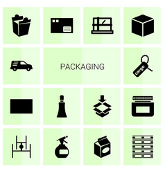 14 packaging icons vector