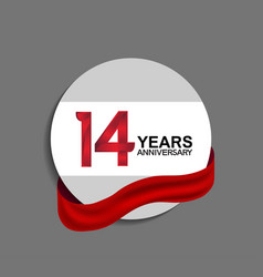 14 years anniversary design in circle red ribbon vector