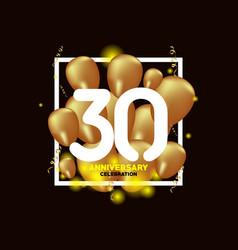 30 year anniversary white gold balloon template vector