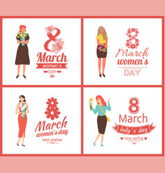 8 march womens day greeting ladies with bouquets vector image