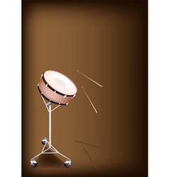 A beautiful snare drum on dark brown background vector