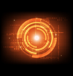 Abstract orange circle digital technology vector