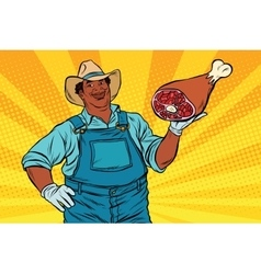 African American farmer with meat foot vector