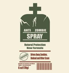 anti zombies spray label vector image vector image