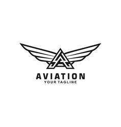 Aviation logo design template idea vector