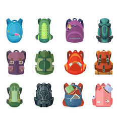 Backpacks for school and hiking vector