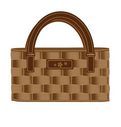 Bag ladies wicker decorated with leather and vector