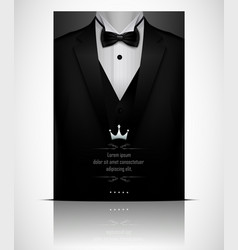 Black suit and tuxedo with black bow tie vector