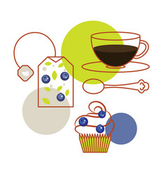 blueberry tea bag and cup tea with cupcake vector image