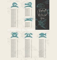 Booklet menu with price for a seafood restaurant vector