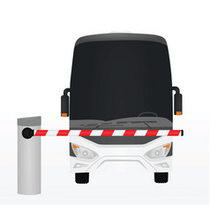 bus behind barrier vector image