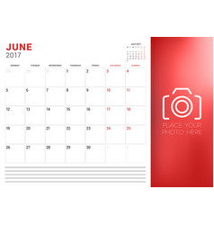 Calendar planner template for june 2017 week vector