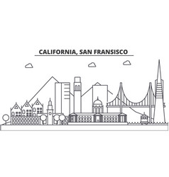 California san francisco architecture line vector
