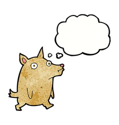Cartoon funny little dog with thought bubble vector