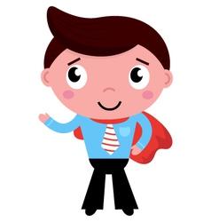 Cartoon superhero businessman in red cape vector image
