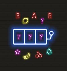 casino neon sign in neon style vector image