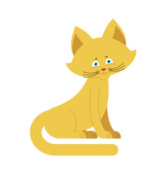 cat yellow isolated cute kitten sits on white vector image