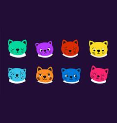 cats faces kitten emotional face cat avatars vector image