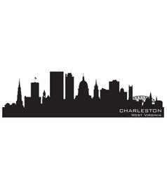 charleston west virginia city skyline silhouette vector image