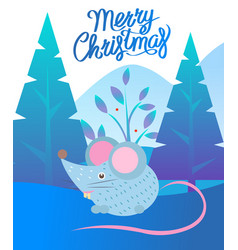 christmas card with mouse and fir-tree vector image