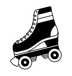 Classic roller skate laced wheels retro fashion vector
