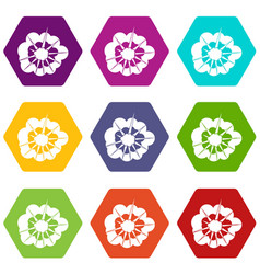 Cloudy explosion icon set color hexahedron vector