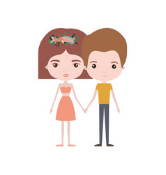 colorful caricature thin couple of man and woman vector image