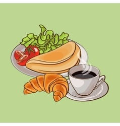 Colorful French Breakfast Template vector