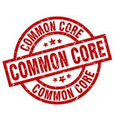 Common core round red grunge stamp vector