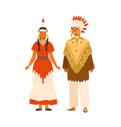 Couple native americans wearing traditional vector