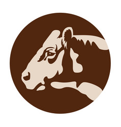 Cow head logo or icon farm domestic animal vector
