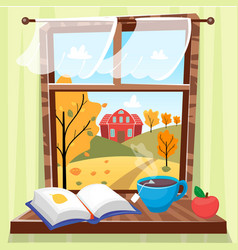 Cozy autumn window with beautiful fall view with vector