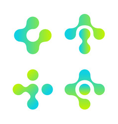 cross logo set soft rounded plus shape pharmacy vector image