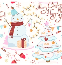 cute Christmas pattern with snowman Christmas tree vector image
