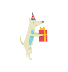 Cute dog in party hat holding gift box funny vector
