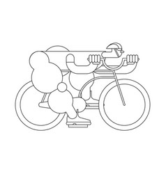 Cyclist linear style bicycle race sports vector